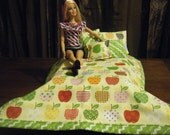 Barbie Doll Quilt and Pillow Set - One of a kind - Apples
