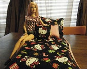 Barbie Fashion Doll Quilt and Pillow Set - One of a kind - Hello Kitty Christmas