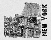 Brooklyn Bridge New York NY Vintage Illustration Instant Download  for Iron On Transfer for Burlap, Tote Bags, Tea Towels, Pillows 479