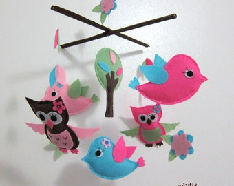 "Baby Mobile - ""Bright Color Critters"" Nursery Mobile - Felt Handmade Crib Mobile - Pink and Blue birds mobile "" (Match your bedding)"