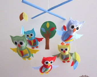 Baby Mobile - Ripple owls baby girl mobile - Ripple owls crib mobile - owls and leaves decorate baby mobile - owls and leaves mobile