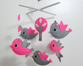 Singing Birds Mobile - Baby Mobile - Nursery Pink Crib mobile - Pink and Grey Little Birds