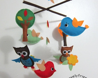 Baby Mobile - round top tree crib mobile - birds and owls forest mobile - Jungle birds decorate mobile - woodland owls baby boy mobile