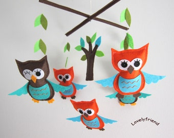 Baby Mobile - orange and brown owls mobile - owls and trees decorate mobile - orange owls baby boy mobile - Winking owls crib mobile