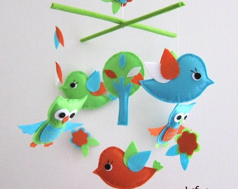 Baby Mobile - Lime and Aqua Birds and Owls mobile - bright birds crib mobile - bright green baby girl mobile