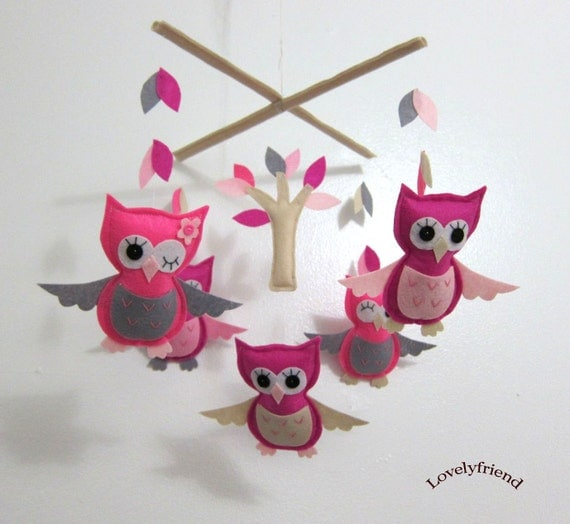 "Baby Mobile - ""Beautiful Pink Girly Owls""  Mobile - Handmade Baby Girl Crib Mobile - Pink owls and Pink trees mobile "" (Match your bedding)"