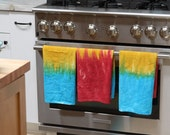 Hand dyed cotton towels, kitchen or bath, hostess gift, set of three