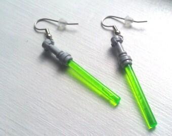 GREEN Star Wars Lightsaber Earrings