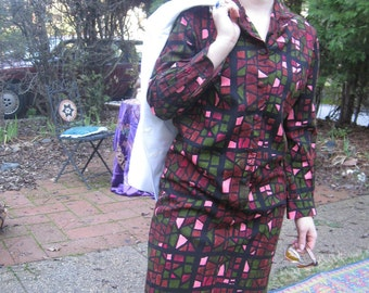 60s Stained Glass Shirt Dress