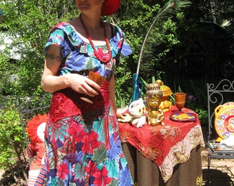Vintage Hawaiian Wild Flora Dress
