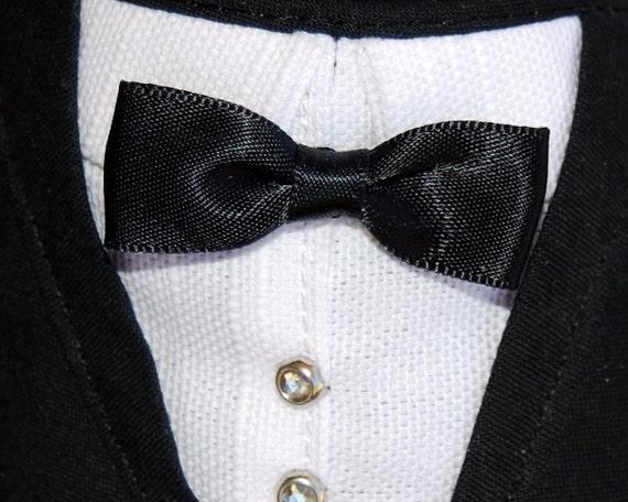 Large Designer Pet Bandana Wedding Groom Tuxedo Large