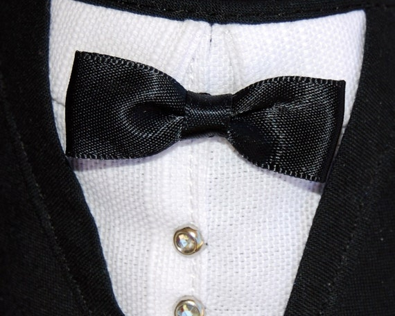 Small Designer Pet Bandana Wedding Groom Tuxedo Small