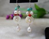 Pearl Earrings,turquoise earring,beadwork Earrings,drop Earrings,hoop Earrings,Beaded Jewelry,Bridesmaid Gifts,Dangle Earrings