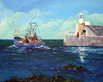 Leaving Whitehills Harbour,Banff on the East Coast of Scotland, a print from my Original oil painting.