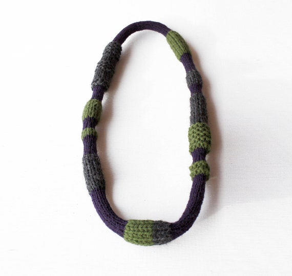 wool necklace - handknitted soft  jewelry - green, purple, grey - SAMPLE