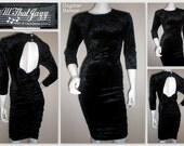 Ladies Vintage 80s crushed velvet black bodycon dress