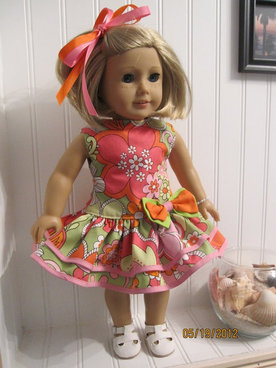American Girl Doll Dress 1930's Party Dress Set - 1960's Flower Power