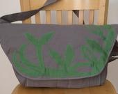 Messenger Bag - Gray Organic Cotton with Green Vine