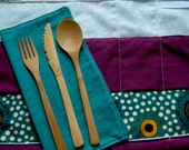 Portable Placemat with Cloth Napkin and Utensils Purple and Green