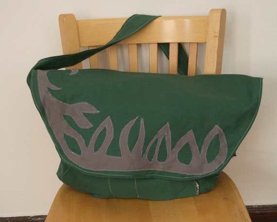 Messenger Bag, Organic Cotton Green with Gray Vine SALE