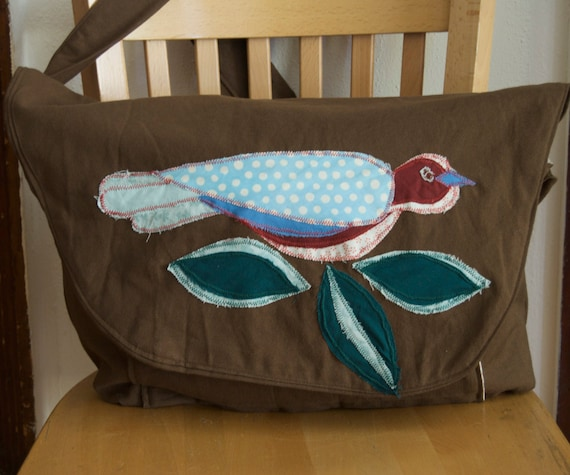 Brown Organic Cotton Canvas Messenger Style Bag, with Colorful Bird SALE