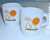 2 Fire King Mugs McDonald's Good Morning Anchor Hocking Cups