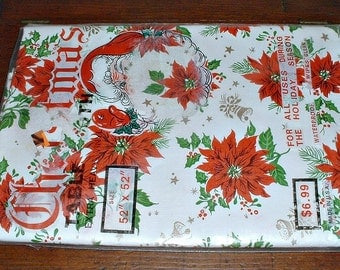 "Vintage Christmas Tablecloth Vinyl New Old Stock Poinsettia Gold Bells Stars 52"" by 52"" Holiday Decor"