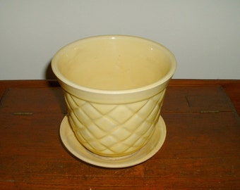 Vintage Planter Pot with Saucer Yellow Quilted Flower Pot Possibly Brush McCoy