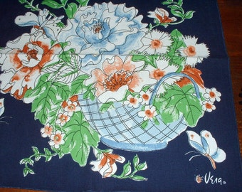 4 Vera Neumann Napkins Ladybug Poppies Butterflies Peonies Orange Blue Vintage Floral Napkins