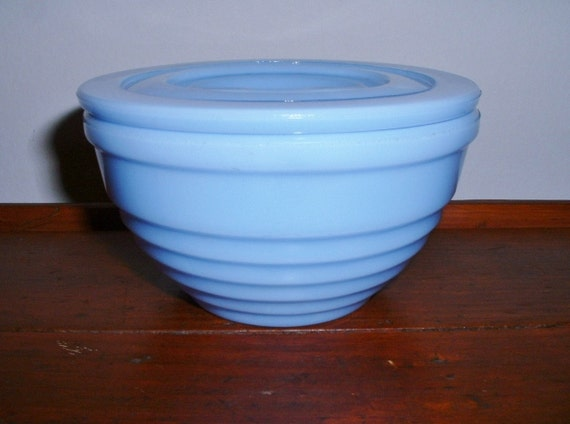 Vintage Delphite Blue Drippings Bowl With Lid Jeannette Depression Glass