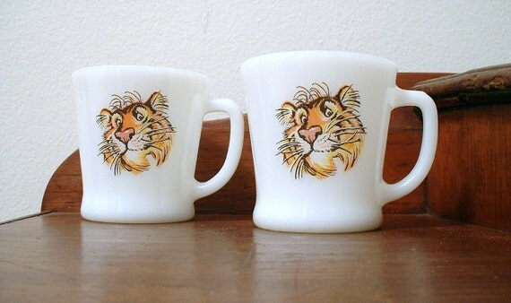 Vintage Fire King Mugs Tiger Esso Advertising Cups