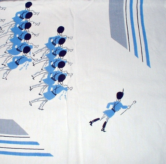 Vintage Tablecloth Marching Band  Parade Marching Drums Blue by Prints Charming 1950s