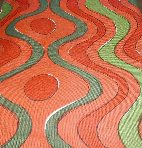 Vintage VeraTablecloth  With Tag Green Orange Red Chevron Vera Neumann