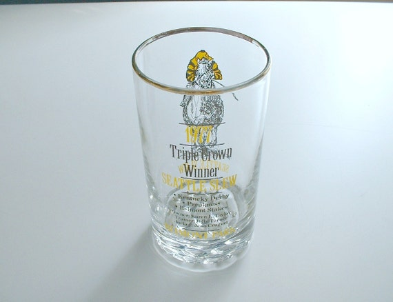 Vintage Horse Racing Seattle Slew Glass Belmont Park Triple Crown Winner Tumbler 1977 Kentucky Derby