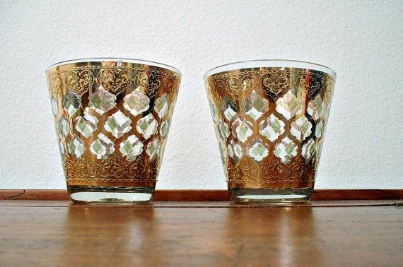 Vintage Culver Valencia Rocks Glasses Old Fashioned Flared