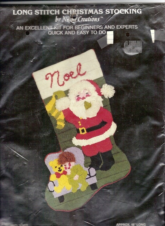 Vintage Christmas Stocking Kit Santa Long Stitch Nicole Creations X502 Child and Teddy