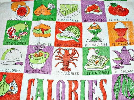 Vintage Towel Counting Calories 1963  Linen Textile Mid Century Modern