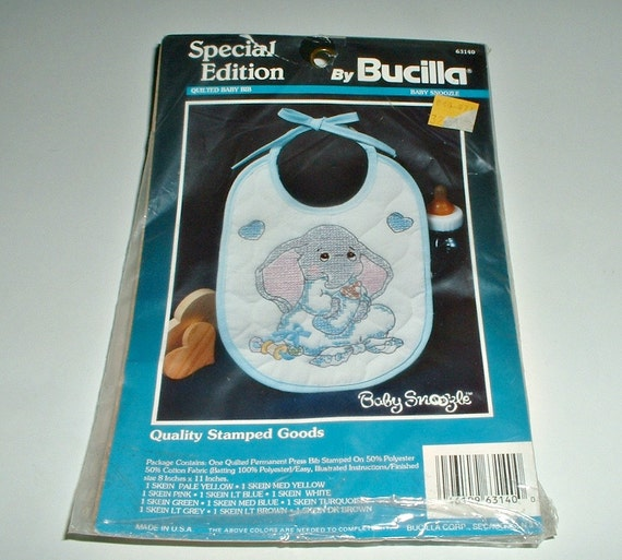 Bucilla Bib Kit Elephant Special Edition Baby Snoozle Blue Trim Quilted  63140 In Package