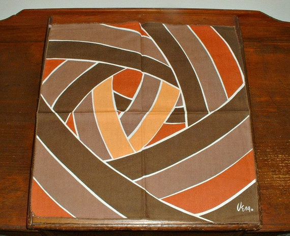 Vintage Vera Neumann Napkins Orange Rust Brown Set of 4 Abstract Geometric Op Art Textile
