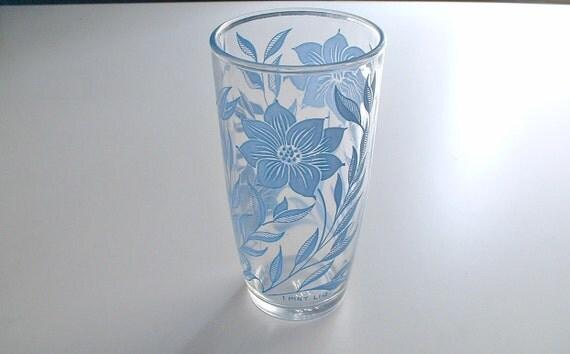Blue Glass Flower Dahlia Hazel Atlas 1 Pint Tumbler Sour Cream Container