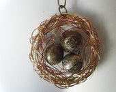 Industrial Steampunk Bronze Egg Birdnest Wire Wrap Pendant and Chain by Dr Brassy Steamington