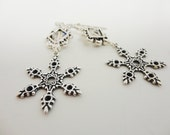 Snowflake Earrings Sterling SIlver .925 Plated Brass with Swarovski Crystal- Pierced  by  Dr Brassy Steamington
