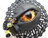 Evil Eye Gothic Beauty - LaGrand Sightmares Gold and Copper Eye in Black Pendant Necklace by Dr Brassy Steampunk