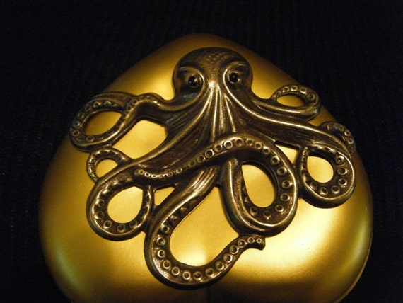 Steamtopus or Kraken Gold Heart Mirror Compact by Dr Brassy Steamington