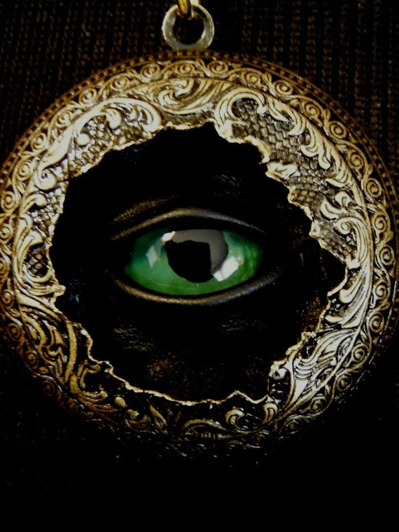 Emerald Dark Dreams Sightmares Evil Eye Steampunk Exploded Victorian Pendant Necklace by Dr Brassy Steamington