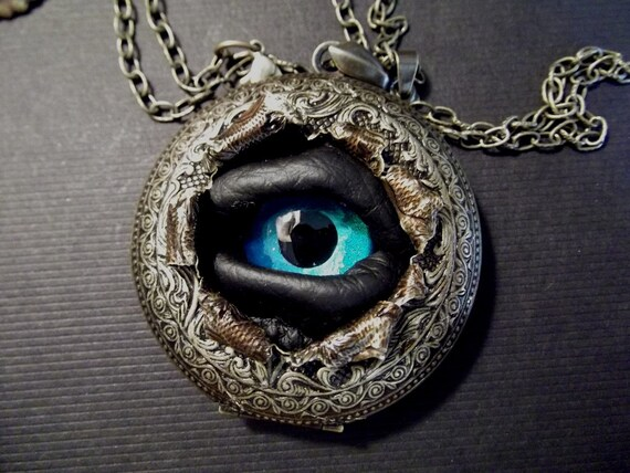 Atlantis Time Warp  -  Sightmares Blue Evil Eye Gothic Steampunk Exploded Victorian Pendant Necklace by Dr Brassy Steamington
