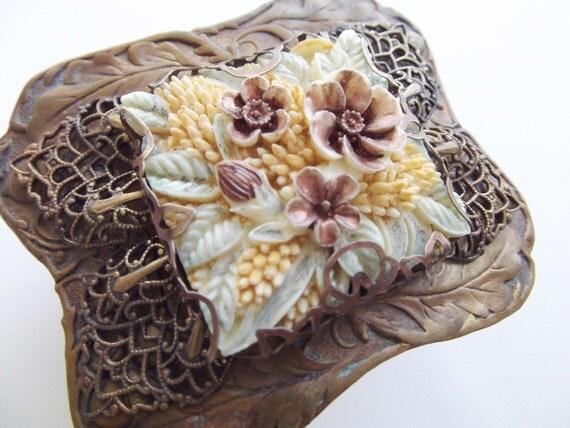 Victorian Renaissance English Tea Garden Brass Bracelet Cuff by Dr Brassy Steamington