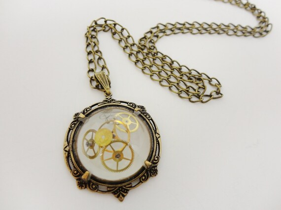 Steampunk Necklace Frozen Time Orb 2 with gears in Victorian brass by Dr Brassy Steamington