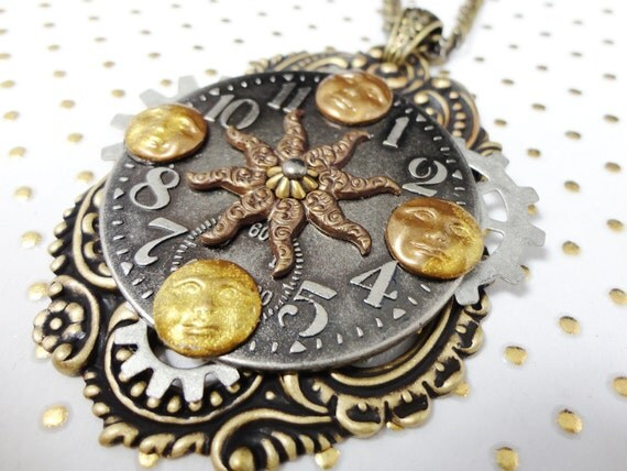 Steampunk Necklace Moon Shadow - Phases of the Moon by Dr Brassy Steamington
