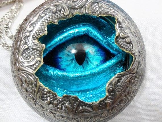 Steampunk Necklace Pocket Watch Case Sightmares Eye - Alien DNA Blue Eye by Dr Brassy Steamington